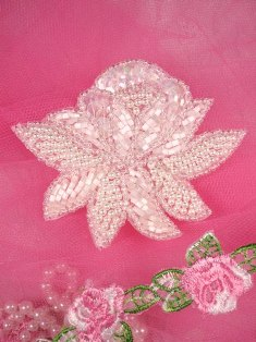 """FS3137 White Satin Pearl Floral Beaded Applique 3"""""""