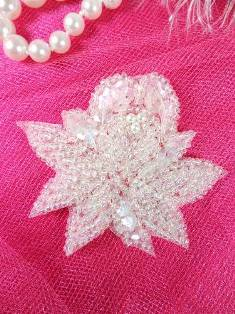 """FS3138  Crystal AB Floral Sequin Beaded Applique 2.25"""""""