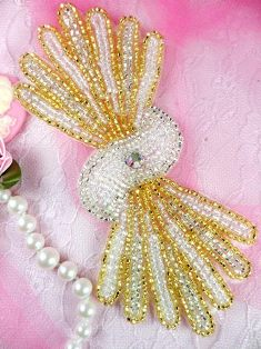 """FS3161 Gold Silver Crystal AB Beaded Applique 5.25"""""""