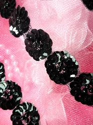 FS3162  Black Floral Sequin Beaded Trim