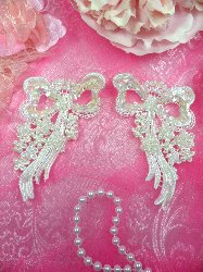 """FS3225x Crystal Iris Pearl Bow Appliques Venice Lace Floral Sequin Beaded Mirror Pair 3"""""""
