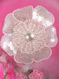 """FS3274 Crystal AB Floral Beaded Sequin Applique 3.75"""""""