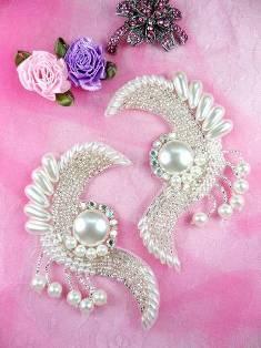 "FS3363 Radiant Pearl Swirl Mirror Pair Beaded  Appliques 4"""