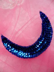 "FS3379 Moon Blue Applique Sequin Beaded Patch 3.5"""