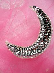 "Moon Silver Applique Sequin Beaded Patch 4"" JB278"