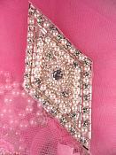 "FS338 Crystal Clear Pearl Rhinestone Diamond Beaded Applique 4"""
