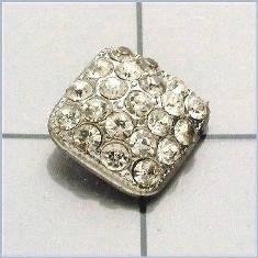 """FS3383 Silver Rhinestone Button 3/8"""""""