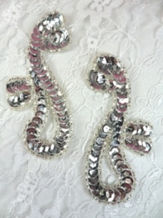 """FS339  Silver Mirror Pair Beaded Sequin Appliques 3.5"""""""