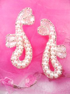 """FS339 Silver Pearl Beaded Mirror Pair Sequin Appliques 3.5"""""""