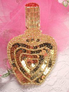 "FS3446 Gold Perfume Bottle Beaded Sequin Applique 4.25"""