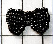 FS346B Black Bow Beaded Applique 1""