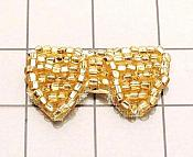 FS346B Gold Bow Beaded Applique 1""