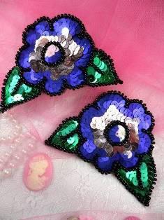 """FS3681 Multi Color Mirror Pair Floral Sequin Appliques 4.5"""""""