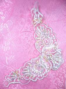 """FS3739 Crystal Iris Satin Pearl Applique Venice Lace Floral Beaded 6.25"""""""