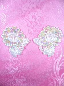 FS3740 Crystal Iris Satin Appliques Venice Lace Floral Beaded Mirror Pair 2.25""