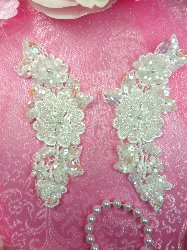 """FS3743x Satin Crystal Pearl Appliques Venice Lace Floral Beaded Sequin Mirror Pair 4"""""""