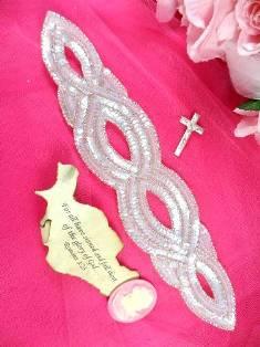 "FS400 Crystal AB Silver Designer Sequin Beaded Applique 11"""