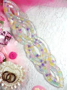 """FS400 Pastel Designer Sequin Beaded Applique 11"""""""