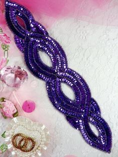 """FS400 Purple Designer Sequin Beaded Applique 11"""""""