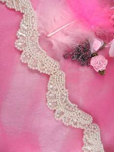 """FS4072 Butterfly Antique White Pearl Beaded Crystal Sequin Trim 2.5"""""""