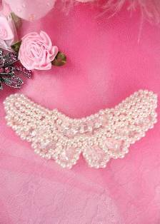 """AFS4072 Butterfly Antique White Pearl Beaded Crystal Sequin Applique 3.75"""""""