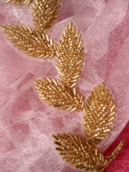 FS4437 Gold Leaf Vine Beaded Trim 2""