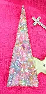 "FS473 Pastel Triangle Beaded Sequin Applique 5"""