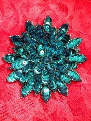 """FS474 Turquoise Floral Beaded Sequin Applique 3"""""""