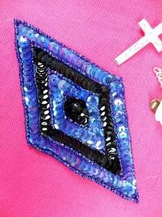 "FS475L Blue AB Black Diamond Beaded Sequin Applique 5"""
