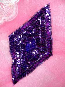 "FS475L Purple Diamond Sequin Beaded Applique 5"""