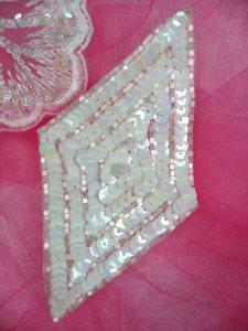 "FS475L White Iris Satin Diamond Sequin Beaded Applique 5"""