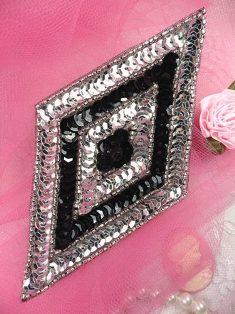 """FS475L Black Silver Diamond Beaded Sequin Applique 5"""""""
