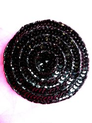 """FS479 Round Circle Black Applique Sequin Beaded Patch 3.5"""""""