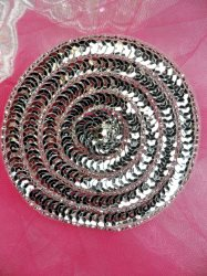 """FS479 Round Circle Silver Applique Sequin Beaded Patch 3.5"""""""