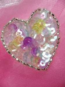 FS510 Pastel Multi Valentine Heart Sequin Beaded Applique 1.5""