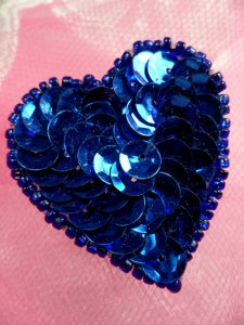 FS510 Blue Valentine Heart Sequin Beaded Applique 1.5""