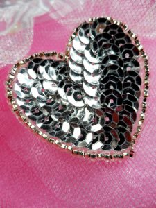 FS510 Silver Valentine Heart Sequin Beaded Applique 1.5""