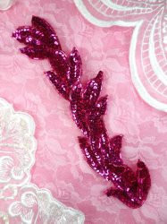 FS511 Fuchsia Leaf Beaded Sequin Applique Patch 8.25""
