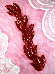 FS511 Red Leaf Beaded Sequin Applique Patch 8.25""