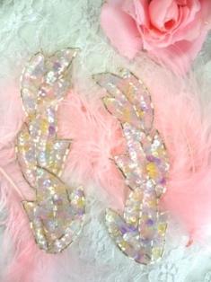 "FS513 Pastel Leaf Mirror Pair Beaded Sequin Appliques 5.5"""