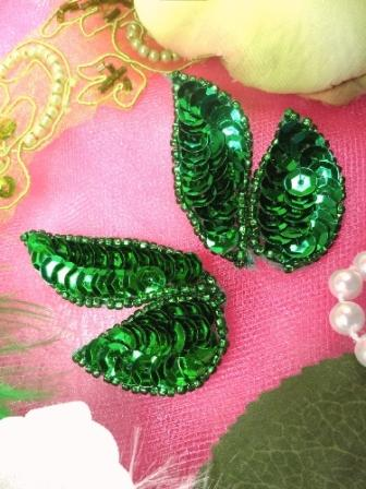 """FS549 Kelly Green Mirror Pair Beaded Sequin Appliques 2"""""""