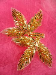 """FS566A Gold Beaded Leaf Applique 3.5"""""""
