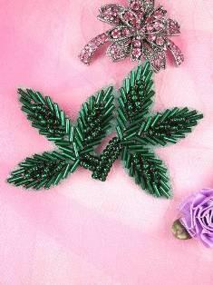 "FS566A Green Beaded Leaf Applique 3.5"""