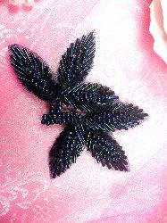 """FS566A Blue Iris Beaded Leaf Applique 3.5"""""""