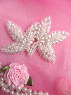 """FS566A White Pearl Beaded Leaf Applique 3.5"""""""
