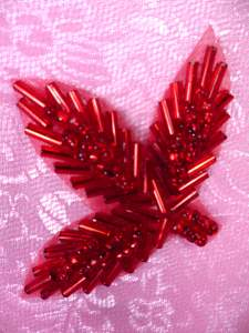 FS566B Red Beaded Leaf Applique 2.25""