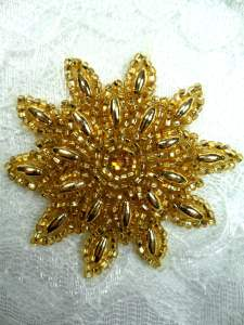 FS5908S Gold Beaded Applique 2""