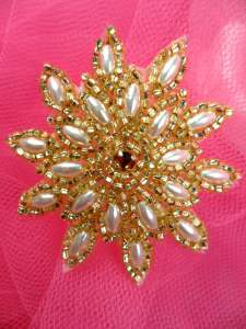FS5908S Gold Pearl Beaded Applique 2""