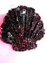FS604 Seashell Ocean Black Applique Sequin Beaded Nautical Patch 2""