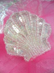 FS604 Seashell Ocean Crystal AB Applique Sequin Beaded Nautical Patch 2""